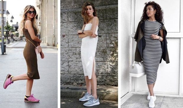 женская мода весна лето 2019: кроссовки под сарафаны миди по фигуре