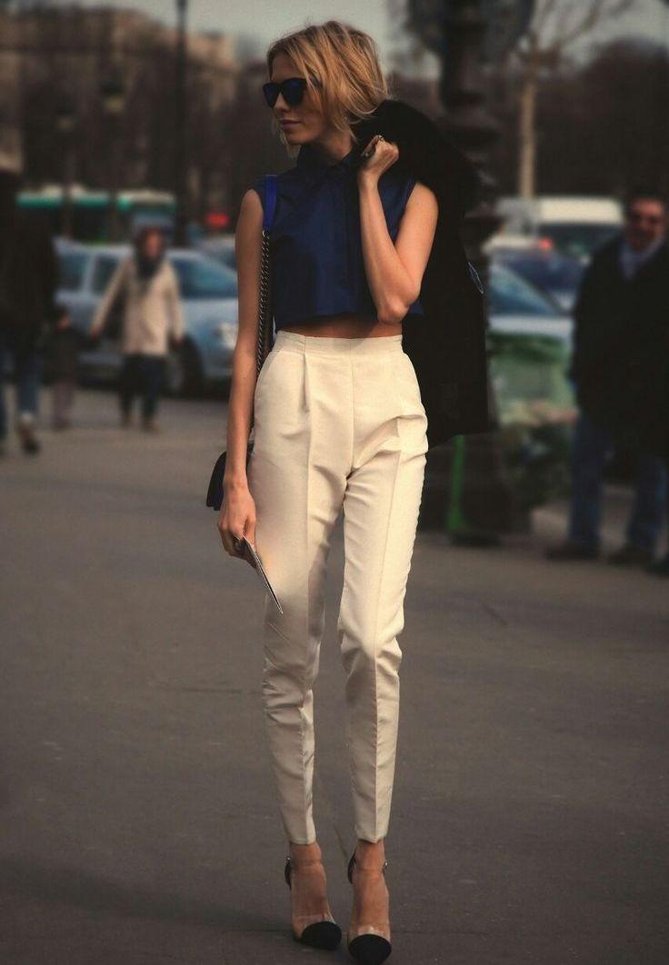 женская мода весна лето 2019: брюки классика том синий