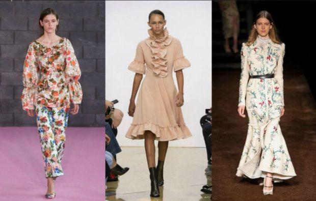 женская мода весна-лето 2019: цветной костюм платье беж платье белое в цветы