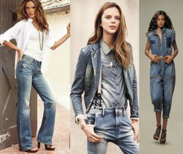 женская мода весна лето 2019: джинсы комбинезон