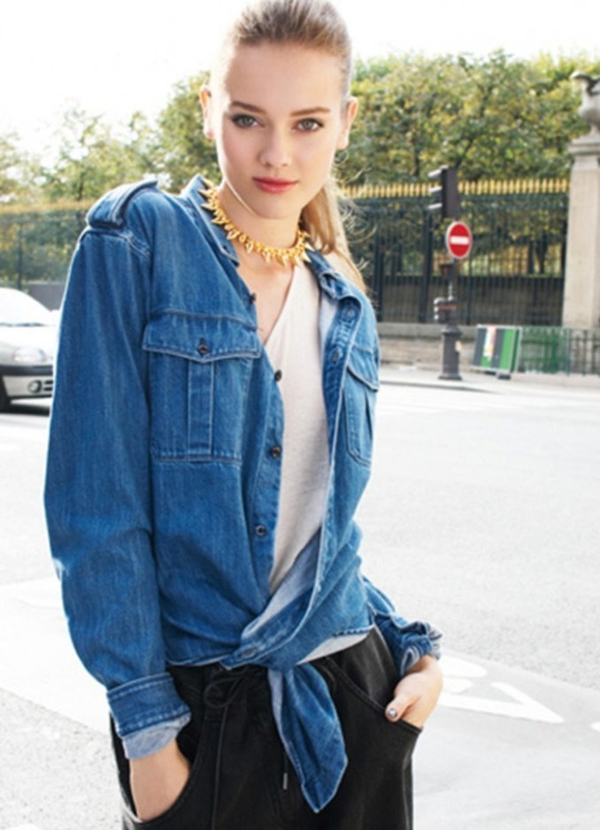 женская мода весна лето 2019: рубашка джинсовая