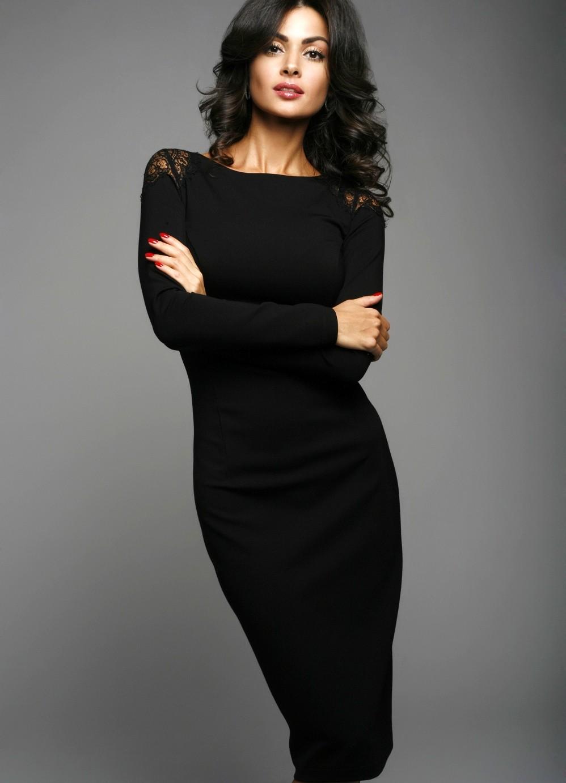женская мода весна лето 2019: платье в обтяжку черное с рукавом