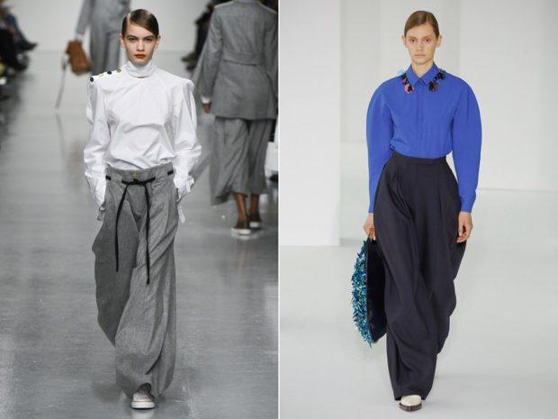 женская мода весна лето 2019: брюки серые черные широкие