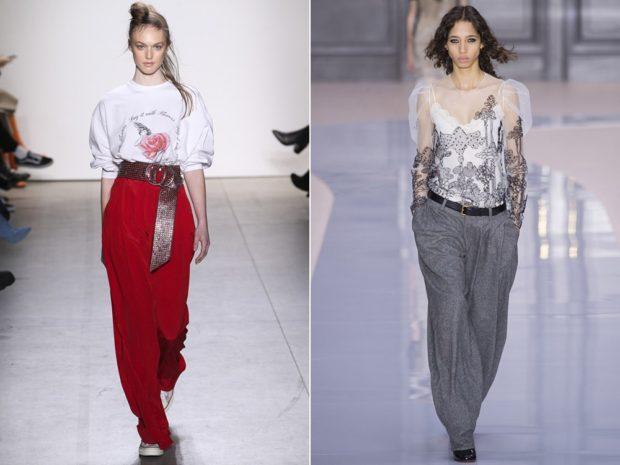 женская мода весна лето 2019: брюки красные серые свободные под рубашки