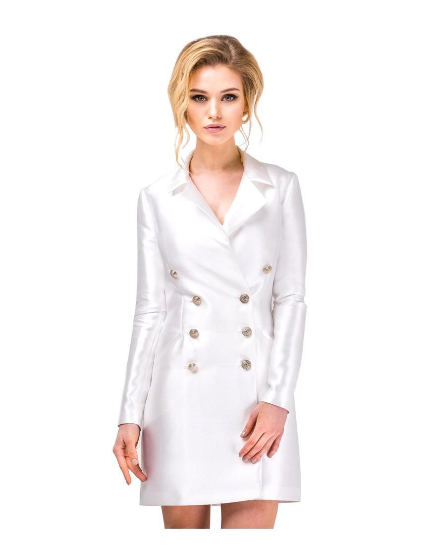 женская мода весна лето 2019: платье пиджак белое короткое