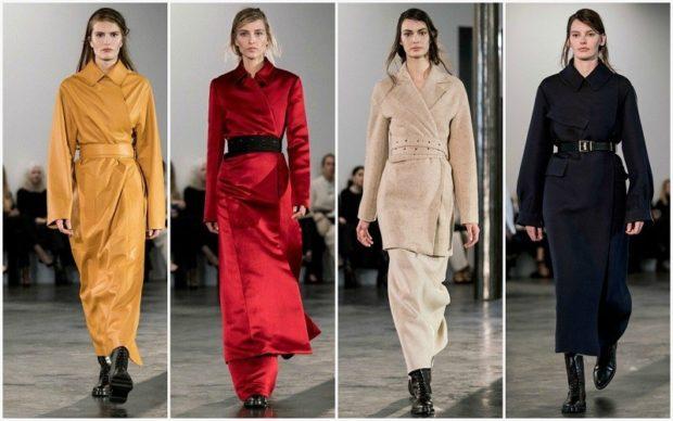 модная одежда 2019-2020: пальто желтое красное бежевое черное под пояс