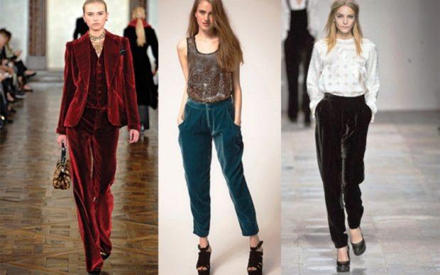 модная одежда 2019-2020: брюки велюровые бордовый, зеленый черный