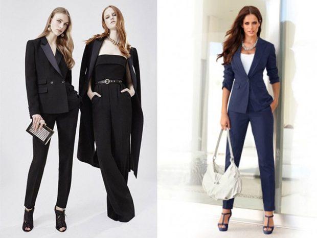 модная одежда 2019-2020: брючные костюмы черный с пиджаком синий