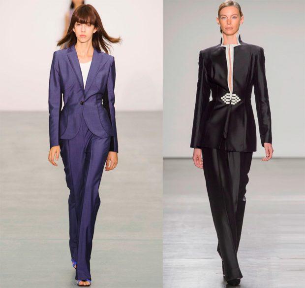 модная одежда 2019-2020: брючные костюмы синий с пиджаком черный