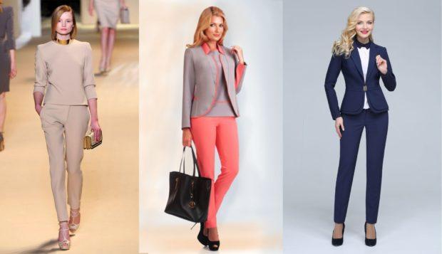 модная одежда 2019-2020: брючные костюмы бежевый разноцветный черный