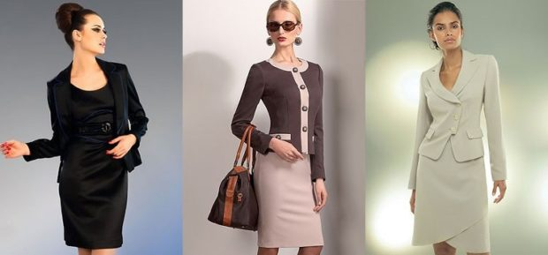 модная одежда 2019-2020: костюм юбка пиджак черные светлая юбка серый пиджак светлый костюм