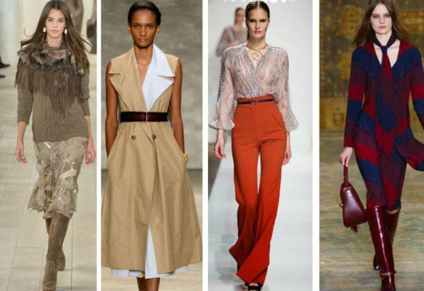 модная одежда 2019-2020: юбка желтка длинная брюки красные платье в принт