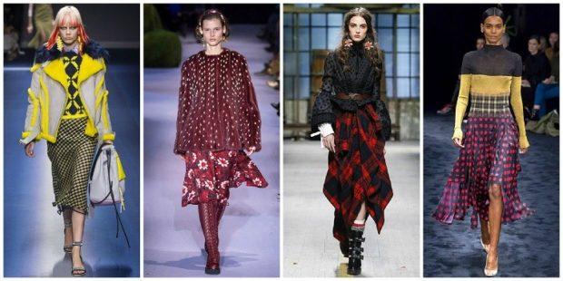 модная одежда 2019-2020: юбки миди в принт куртки яркие