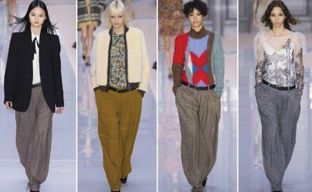 модная одежда 2019-2020: брюки женские серые широкие зеленые с карманами