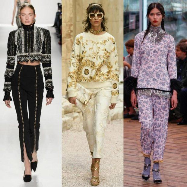 модная одежда 2019-2020: брюки с принтом черные белые сиреневые
