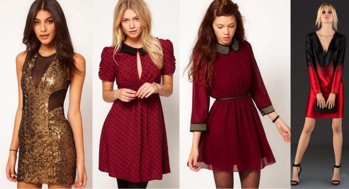 модная одежда 2019-2020: платья короткие золотое красное