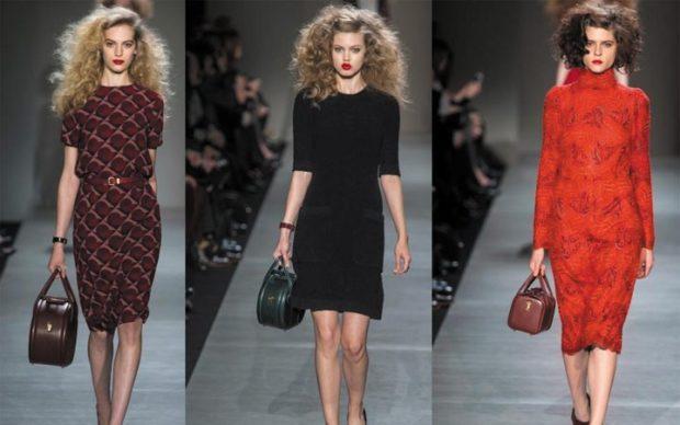 модная одежда 2019-2020: платья миди коричневое черное красное