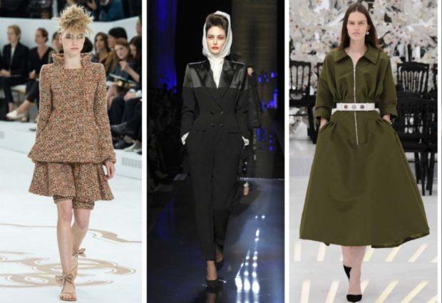 модная одежда 2019-2020: платье коричневое зеленое зимние
