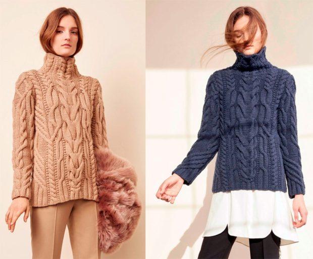 модная одежда 2019-2020: свитер под горло коричневый синий