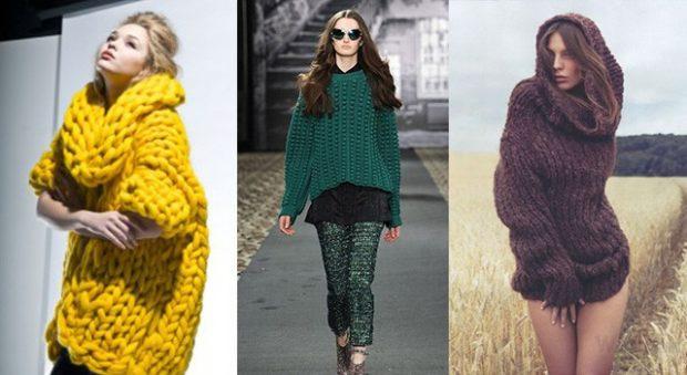модная одежда 2019-2020: желтый зеленый коричневый свитера объемные