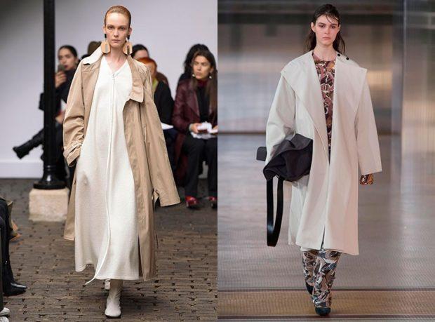 модная одежда 2019-2020: плащи удлиненные светлые