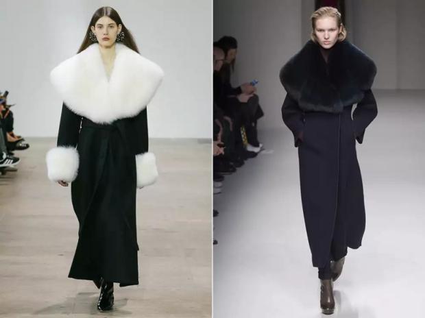 модная верхняя одежда:пальто с мехом белым черным объемным