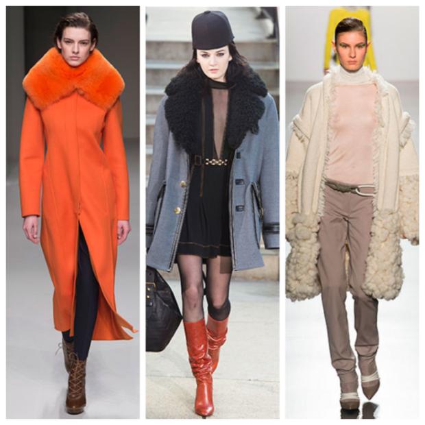 модная верхняя одежда:пальто с мехом оранжевым черным белым