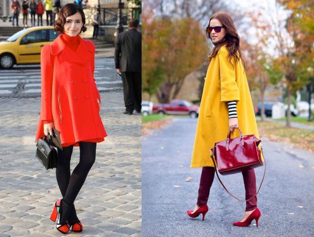 модная верхняя одежда: пальто красное желтое