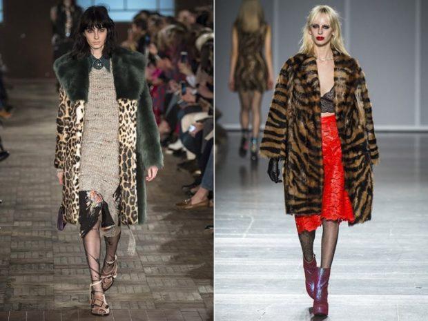 модная верхняя одежда: шуба леопард тигр