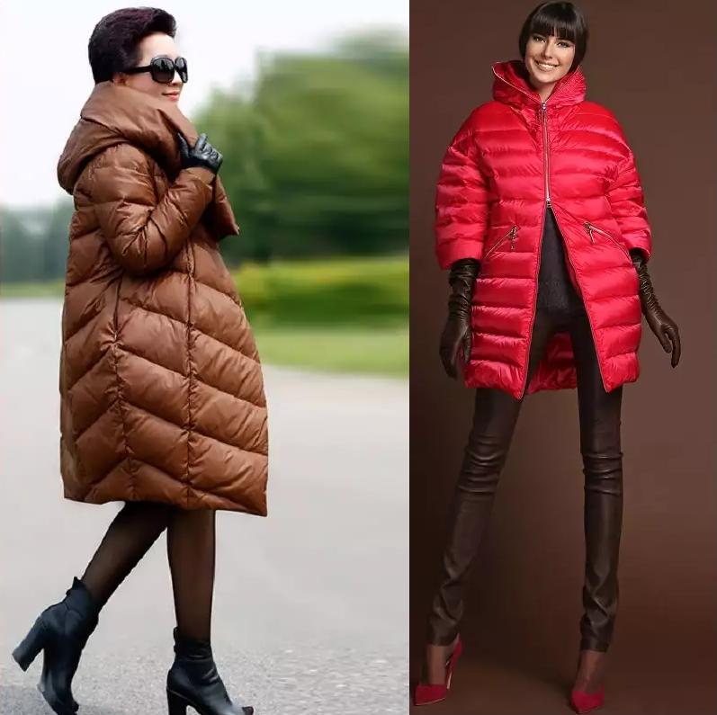 модная верхняя одежда: пуховики коричневые красный