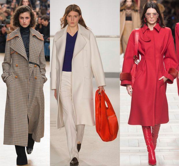 модная верхняя одежда: пальто удлиненное клетка белое красное