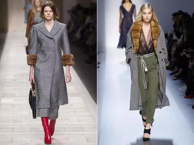 модная верхняя одежда:пальто с мехом серое удлиненное