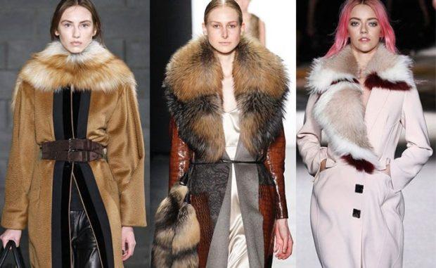 модная верхняя одежда:пальто с мехом лисы коричневое белое