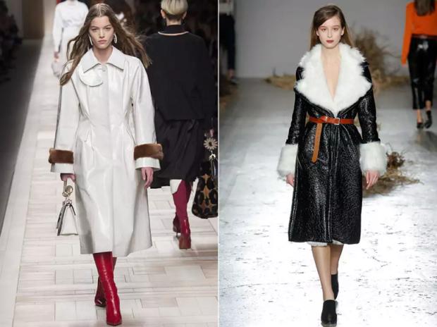 модная верхняя одежда:пальто с мехом белое черное удлиненное