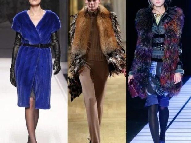 модная верхняя одежда:пальто с мехом синий лиса цветной