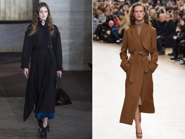 модная весна 2019: плащи длинные черный песчаный под пояс