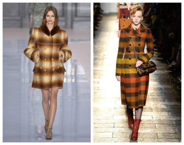 модная весна 2019: пальто в клетку короткое длинное коричневое