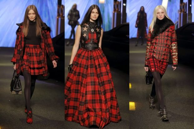 модная весна 2019: юбка куртка в клетку черная с красной