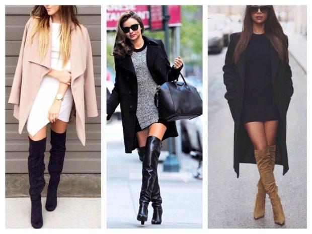 модная весна 2019: ботфорты черные под пальто