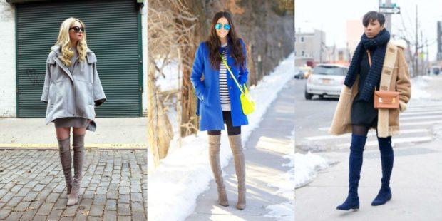 модная весна 2019: ботфорты бежевые синие под пальто