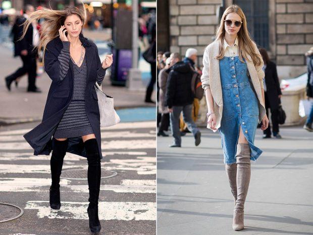 модная весна 2019: ботфорты черное под пальто бежевые под сарафан