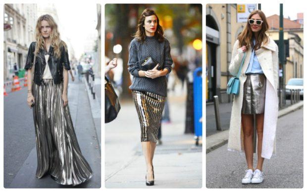 модная весна 2019: серебристые юбки в пол миди