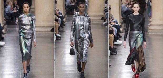 модная весна 2019: серебристые костюмы юбки куртки