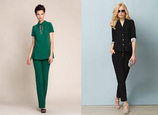 модная весна 2019: костюм брючный зеленый черный короткие брюки