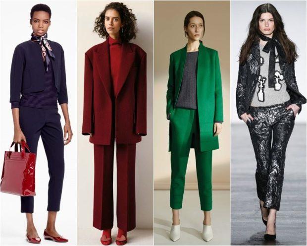 модная весна 2019: костюм синий бордо зеленый серый короткие брюки