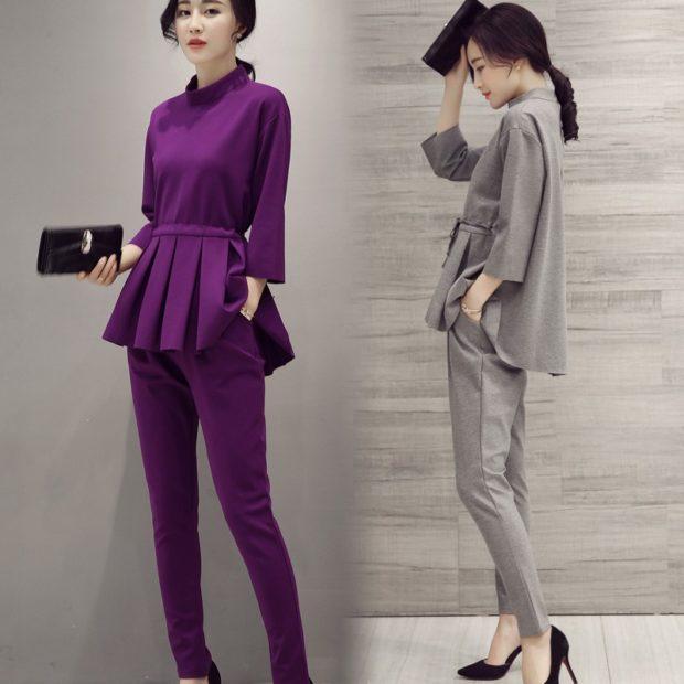 модная весна 2019: сиреневый серый костюм с брюками