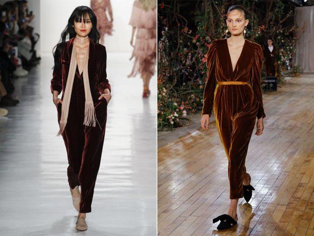 модная весна 2019: комбинезон бархатный коричневый