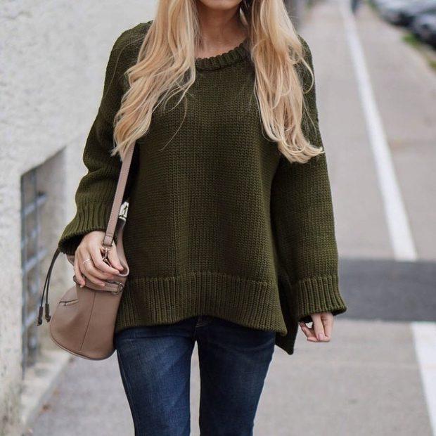 модная весна 2019: кофта объемная зеленая