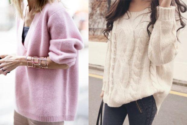 модная весна 2019: свитера большие розовые белые