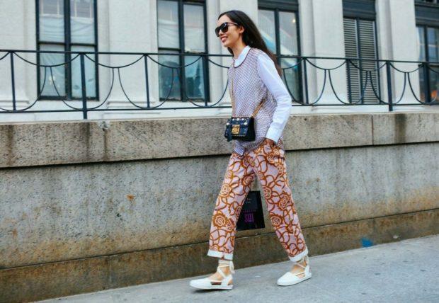 модная весна 2019: брюки короткие рубашка с жилеткой